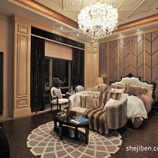 2013欧式风格别墅豪华主卧室床头背景墙吊顶窗帘装修效果图