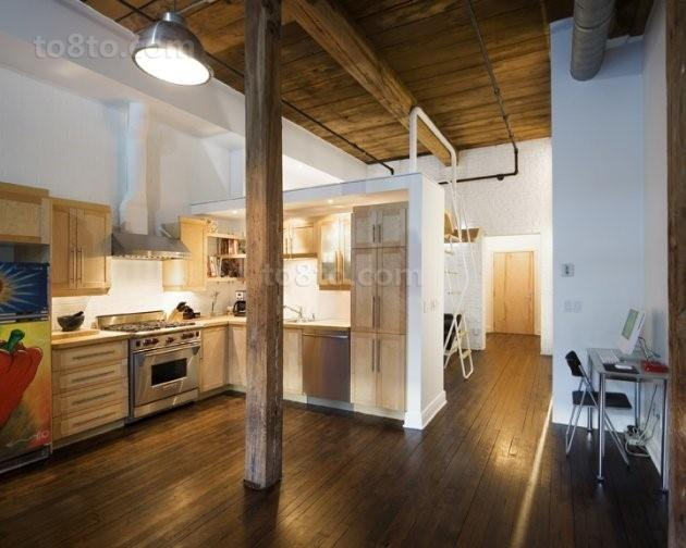 原木质感厨房橱柜装修效果图 开放式厨房装修