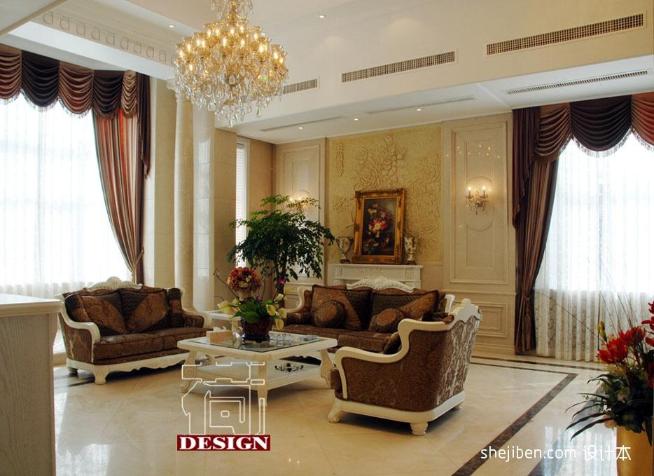 經典簡歐客廳沙發羅馬柱背景墻裝修效果圖