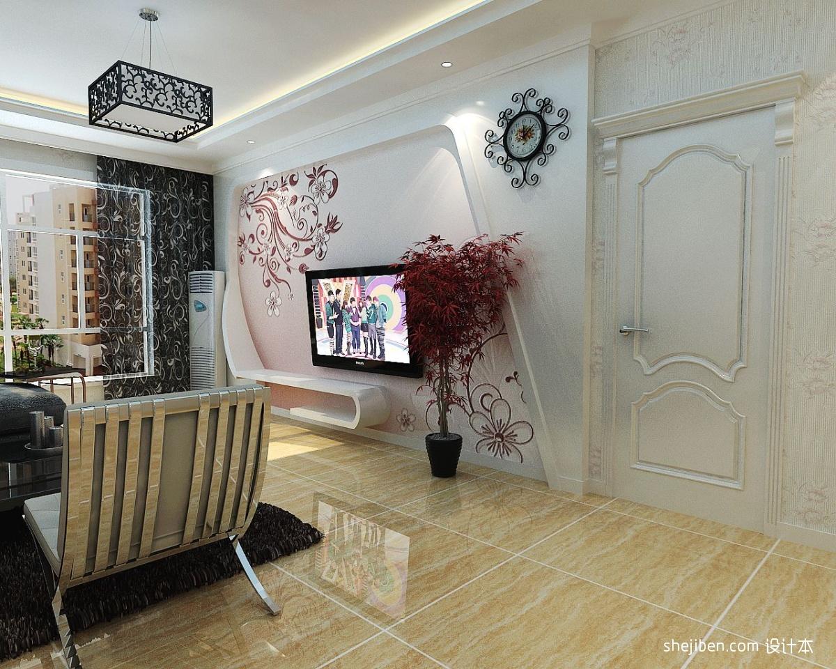 现代简约风格客厅手绘墙效果图