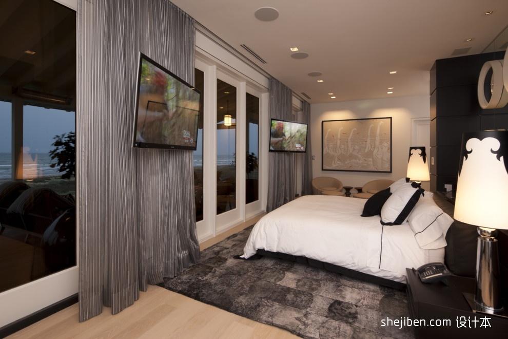 主卧室落地窗窗帘衣柜灰色地毯装修效果图