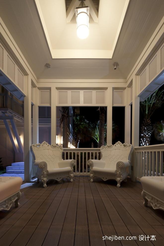 休闲区木地板椅子护栏吊顶装修效果图片