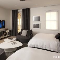 现代风格别墅经典次卧室双人床电视墙装修效果图