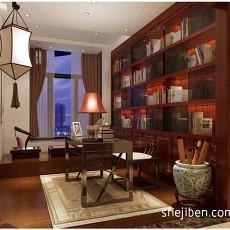 热门面积127平中式四居书房装修效果图片