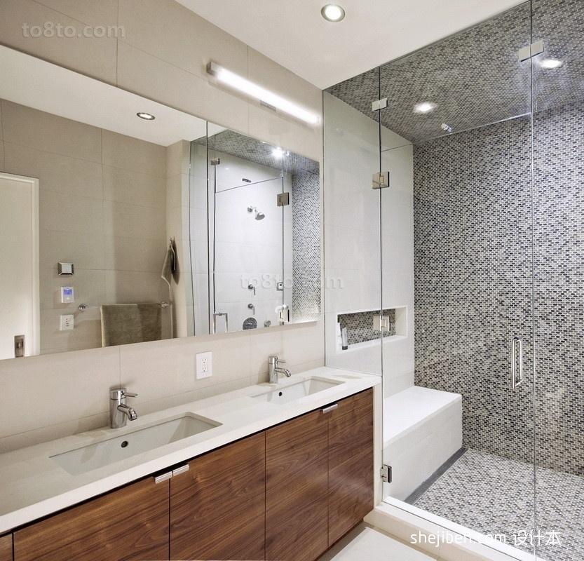 洗手间装修效果图  卫生间玻璃隔断装修效果图