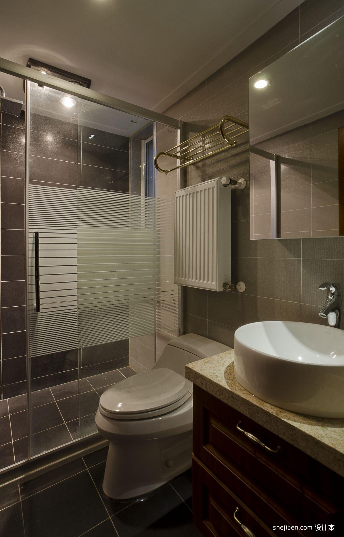 卫生间淋浴房黑色地砖装修效果图