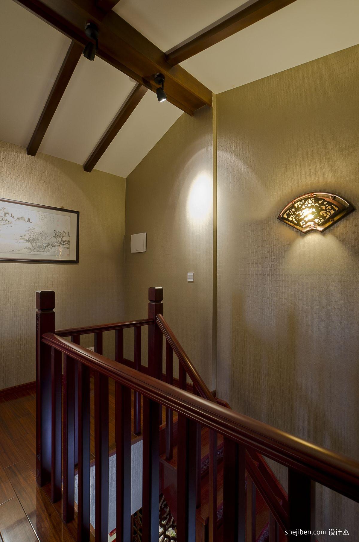 2017中式风格复式室内高档红木楼梯扶手装修效果图