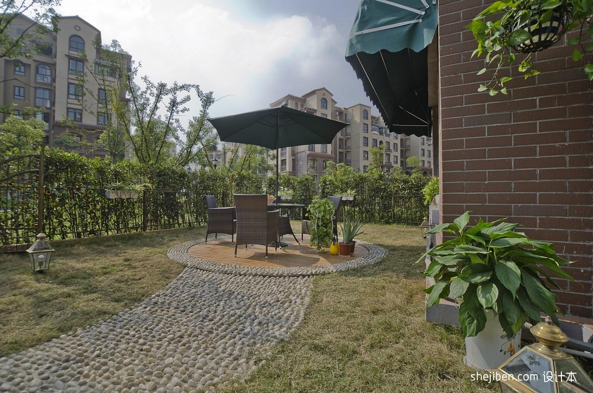 休闲花园桌椅鹅卵石装修效果图片