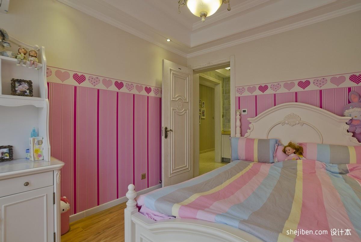 时尚经典女孩儿童房花纹壁纸装修效果图片