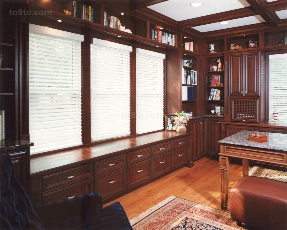 美式风格书房飘窗装修效果图