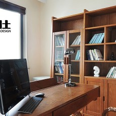 热门面积96平混搭三居书房欣赏图