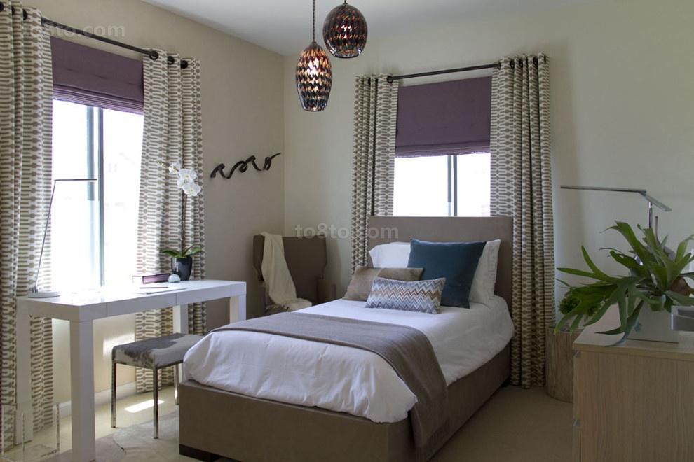 最新卧室窗帘装修设计图