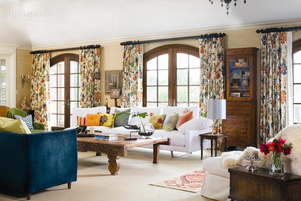 欧式客厅窗帘效果图2012