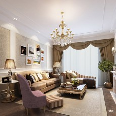 2018136平米四居客厅欧式装修效果图片
