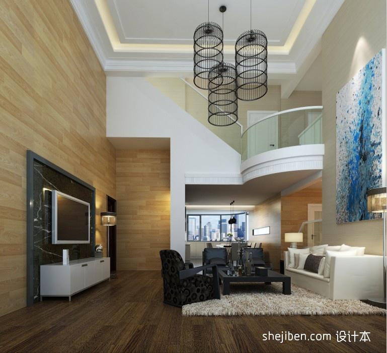 热门面积136平复式客厅混搭装修欣赏图片大全