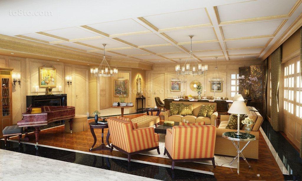 古典欧式大客厅吊顶效果图