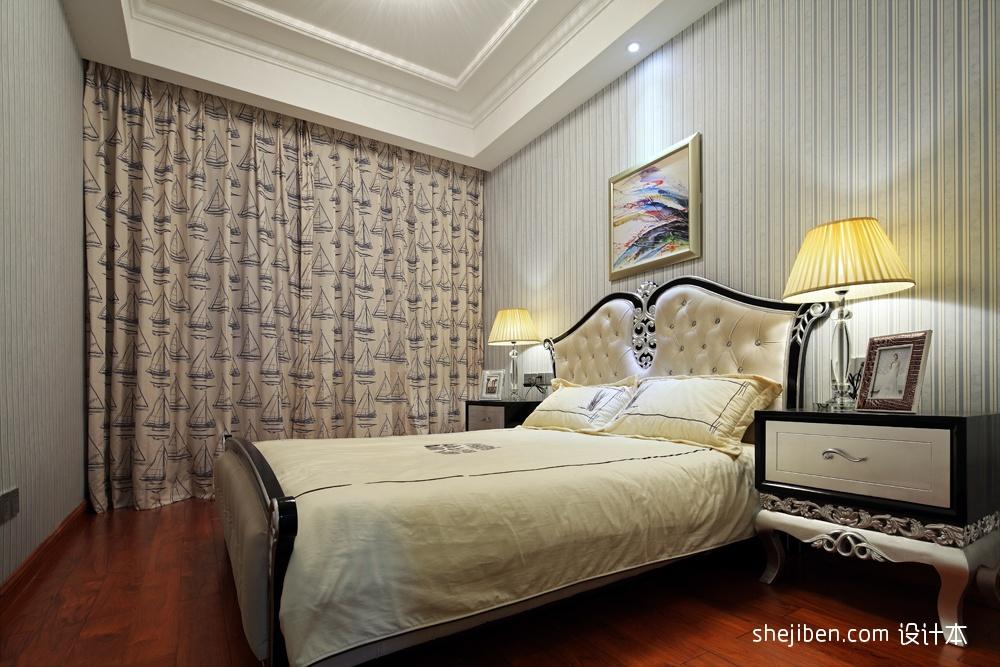 飘窗壁纸主卧室吊顶装修效果图