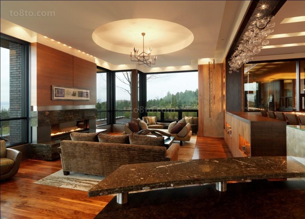 客厅圆形吊顶设计效果图
