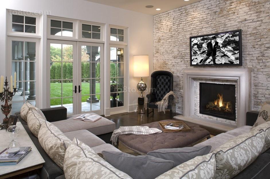 北欧风格复古砖纹电视墙装修效果图
