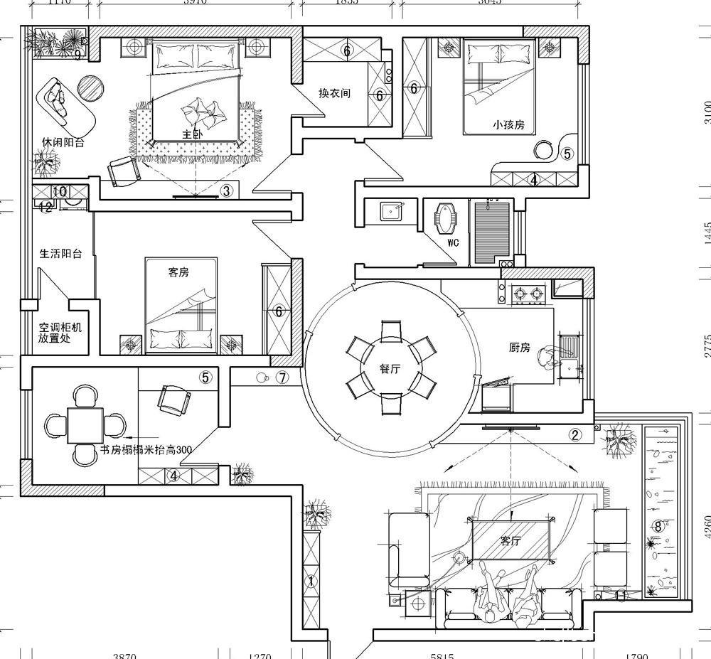 2018大小118平混搭四居客厅效果图片欣赏