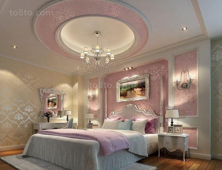 欧式粉色卧室吊顶效果图
