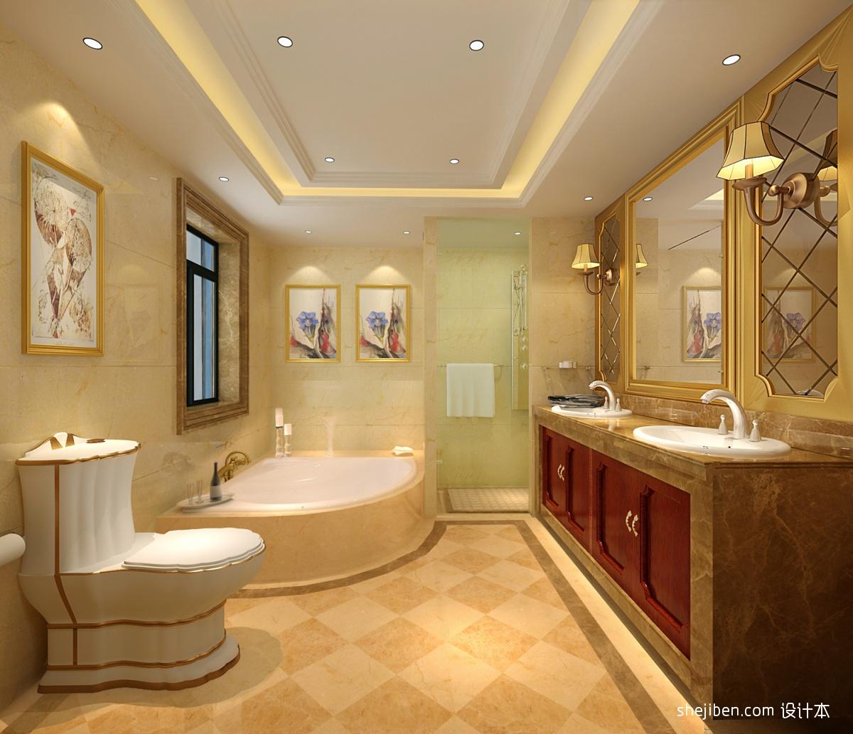 精美131平米欧式别墅卫生间装修图