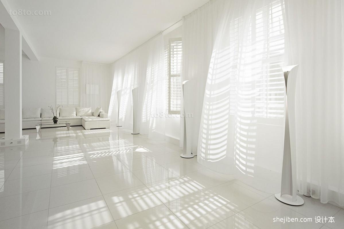客厅白色窗帘纱帘效果图