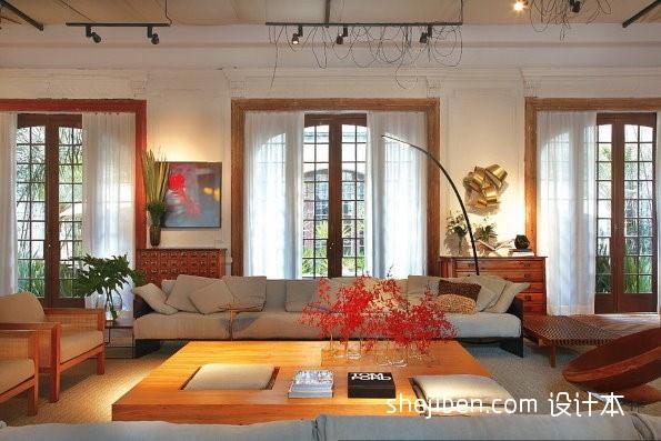 热门面积114平复式客厅混搭装饰图片