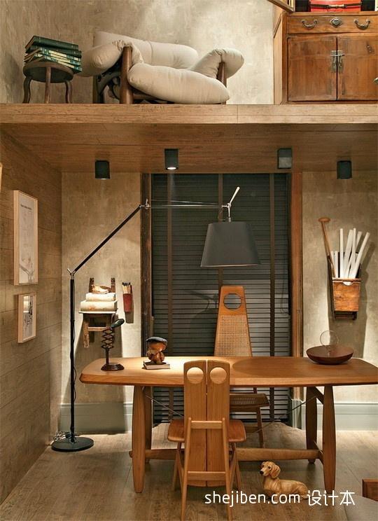 精选面积124平复式书房混搭装修实景图片