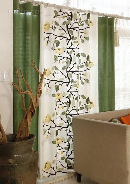 阳台遮阳绿色窗帘