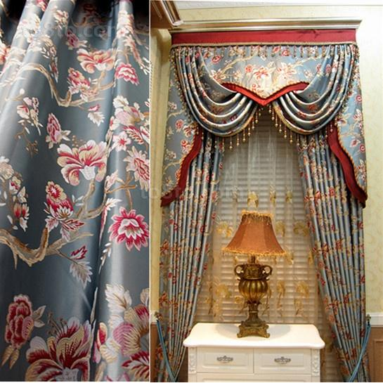 中式风格印花窗帘图片