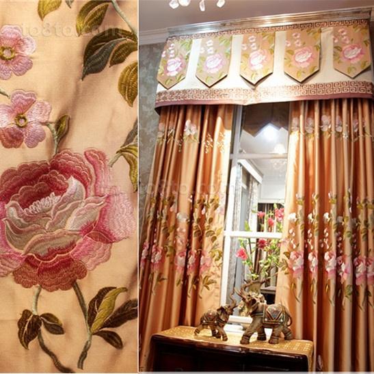 绣花窗帘图片