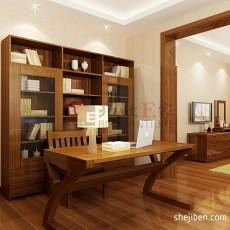 热门面积94平中式三居书房实景图片大全