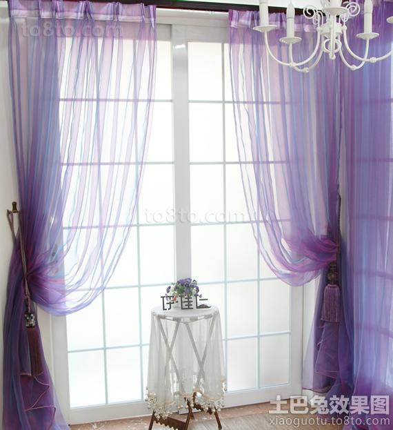 简约紫色落地窗帘效果图