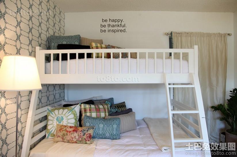 简约小空间儿童房上下铺双人床效果图
