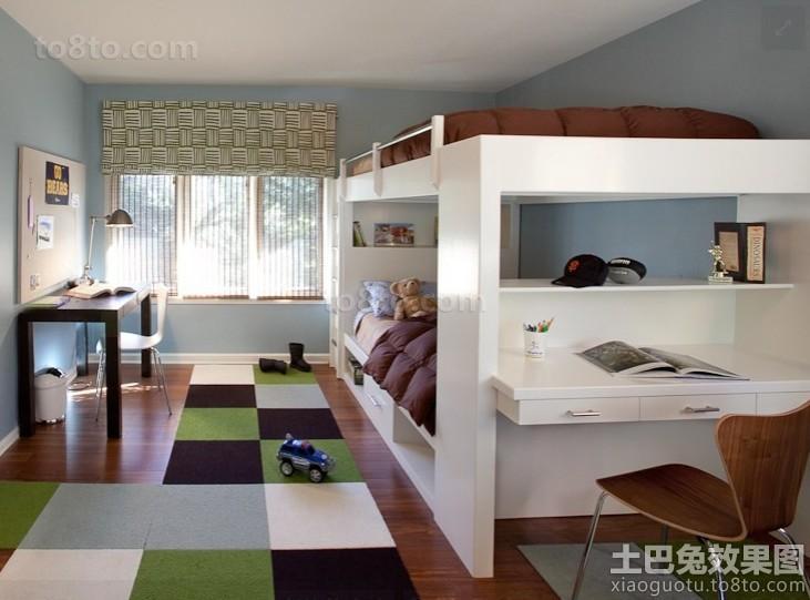 带书房儿童房上下铺双人床设计