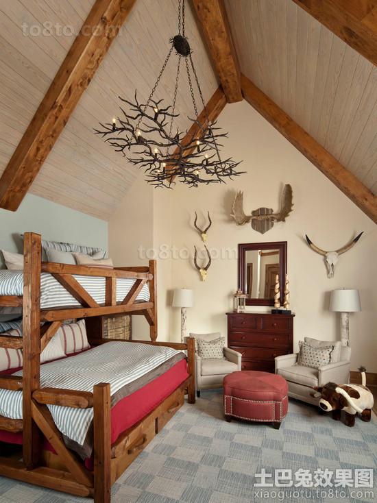 阁楼儿童房上下铺双人床装饰效果图