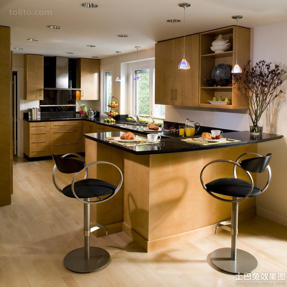 别墅厨房时尚吧椅图片