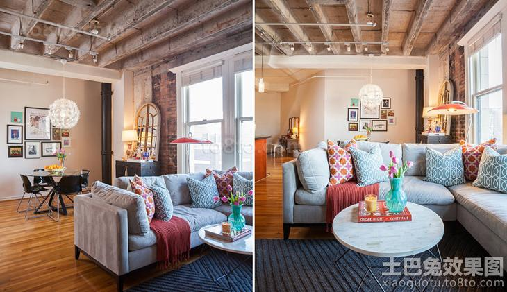loft风格客厅布艺沙发图片