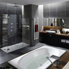 2014黑白卫生间浴池装修图片大全
