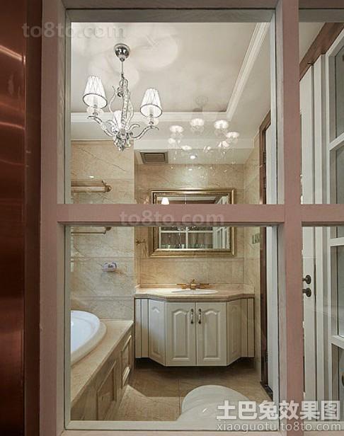 家庭卫生间欧式实木浴室柜效果图