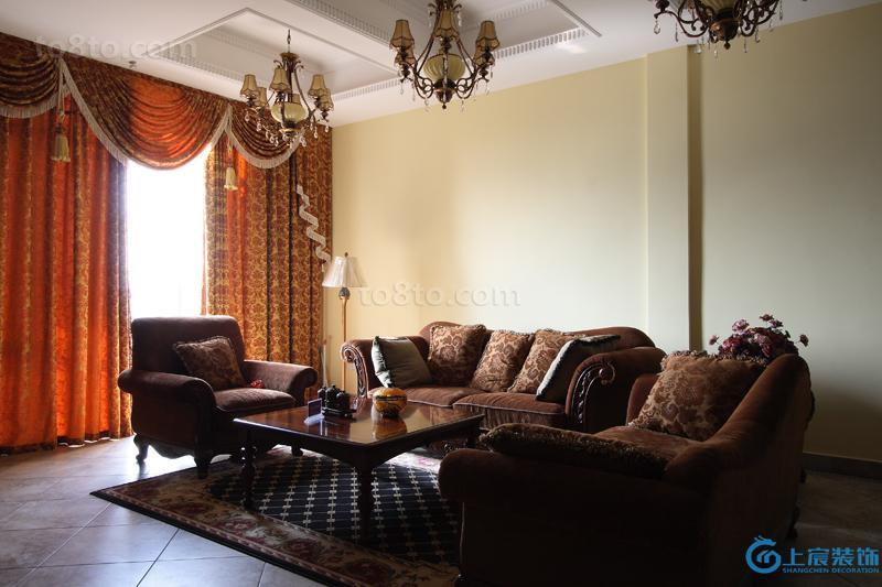 美式风格装修客厅窗帘效果图