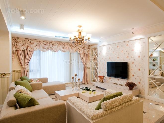 温馨田园风格客厅电视背景墙效果图