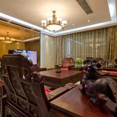 2018134平米中式复式客厅装修欣赏图片大全