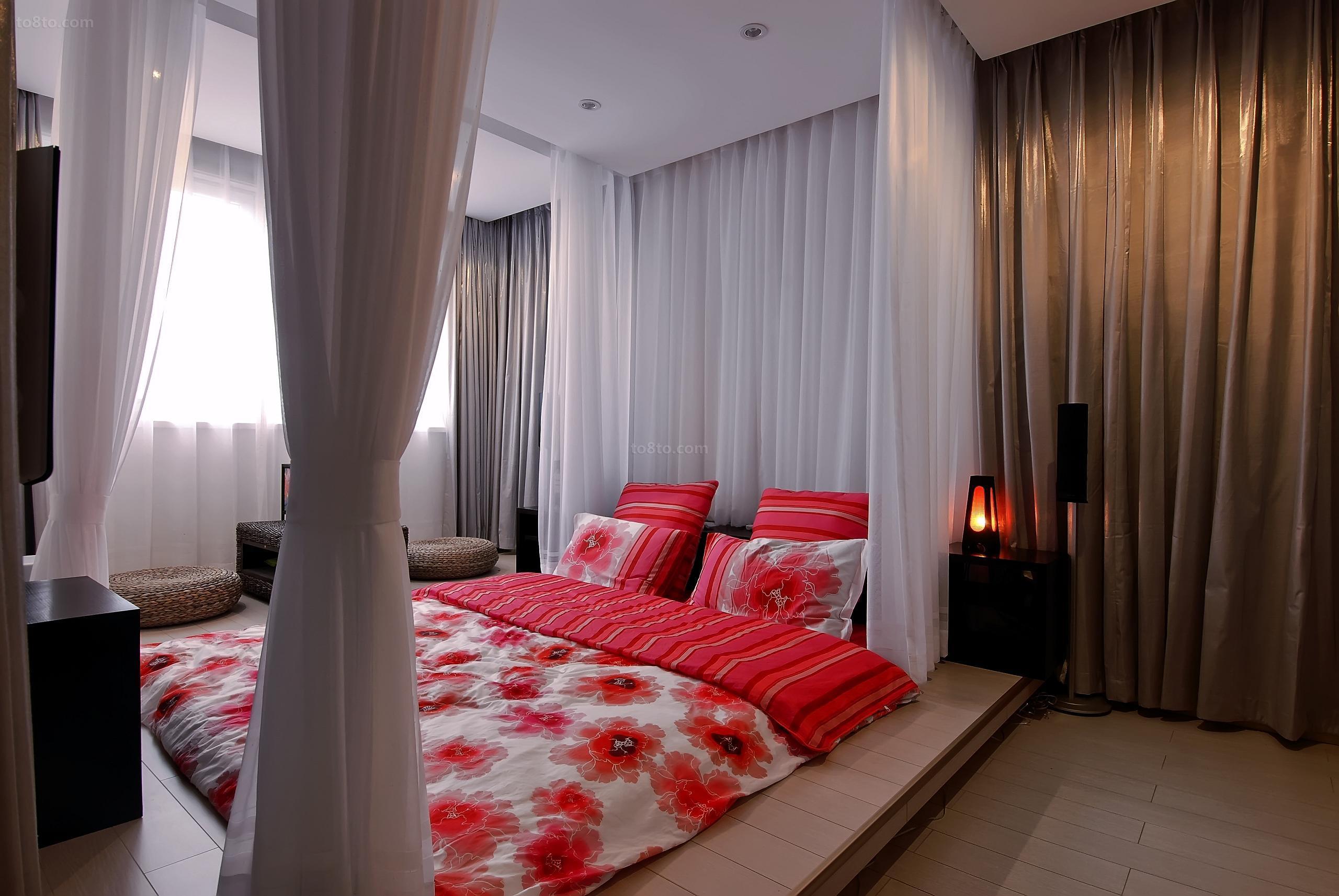 100平婚房卧室装修效果图 卧室床幔效果图