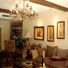 美式风格客厅沙发背景墙挂画效果图