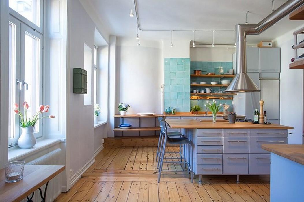 北歐風格開放式廚房木地板裝修效果圖
