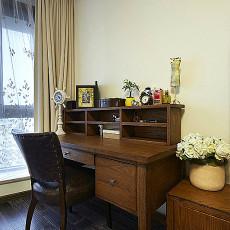 美式书房实木书桌效果图