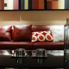 客厅红色真皮沙发效果图