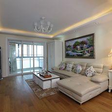 欧式风格客厅沙发背景墙挂画效果图
